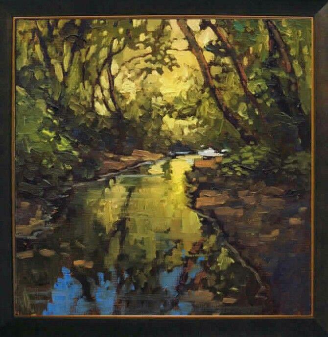 "Jan Schmuckal Tonalist Impressionist Artist - 8""x 8"" - ""Summer Dream"" - Creek Scene"