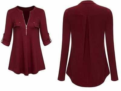 YuanDian blusas mangas larga para mujer Ofertas especiales y promociones  Caracteristicas Del Producto: Mujeres punto tops de otoño Media cremallera,