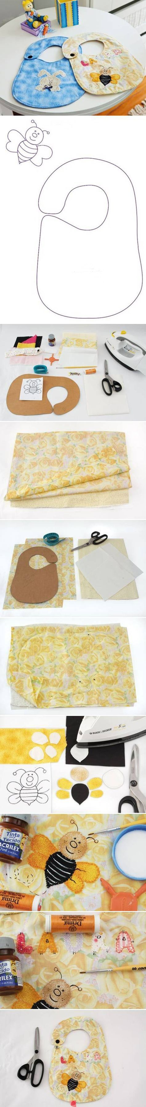 DIY baby bibs with a button. Baby shower gift