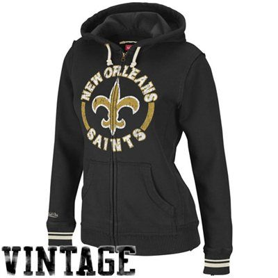 Mitchell & Ness New Orleans Saints Ladies Black Arch Rivals Full Zip Hoodie Sweatshirt -