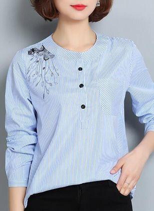 Raya Casuales Algodón Cuello redondo Manga larga Camisas de