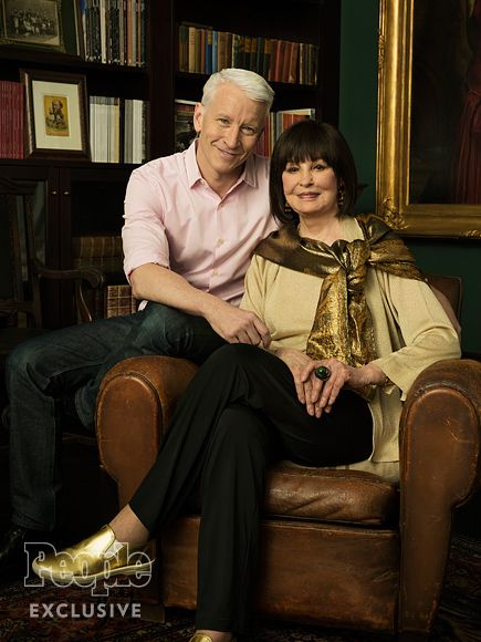 Anderson Cooper and mother Gloria Vanderbilt | Gloria, 92, is the great-great-great granddaughter of shipping tycoon Cornelius Vanderbilt, and grew up under the custody of her aunt, Gertrude Vanderbilt Whitney. Her fourth marriage was to writer Wyatt Cooper, Anderson's father, which lasted until his death in 1978.