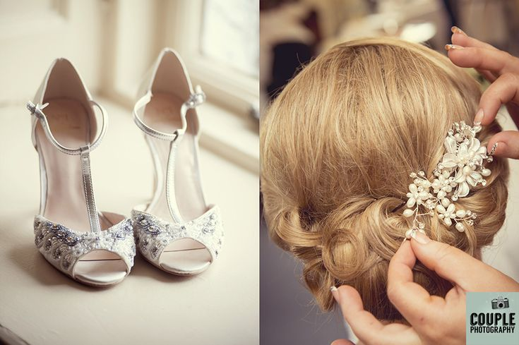 Natural light on the bridal shoes. Cute detail of the brides hair piece. Weddings at Rathsallagh House Hotel by Couple Photography.