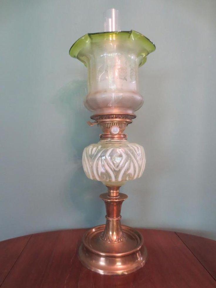 ANTIQUE+ART+NOUVEAU+(C1900)+HINKS+OIL+LAMP-VASELINE+FONT+