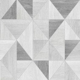 Apex Wood Grain Geometric Wallpaper - Grey - Fine Decor FD42226 This beautiful Apex Wood Grain Geometric Wallpaper features a contemporary geometric style design of abstract wooden triangles in various tones of grey with a matte finish and a metallic silver outline. Easy to apply, this high quality wallpaper would look great when used for a feature wall or equally good when used to decorate a whole room.  A stunning geometric design wallpaper Features stylish metallic elements Ideal for…