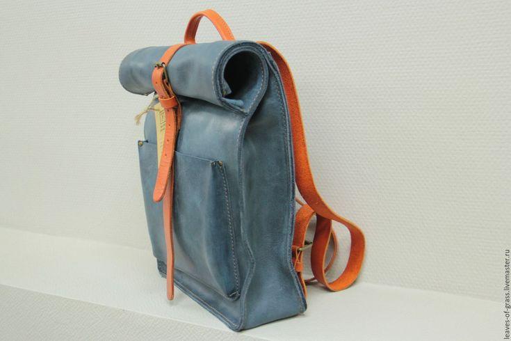 """Купить Городской рюкзак из мягкой синей кожи """"Сrazy horse"""" - тёмно-синий, кожаный рюкзак"""