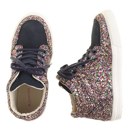 Girls' glitter suede high-tops - perfect for Maddison or Emma (too bad they don't come in grown up sizes)