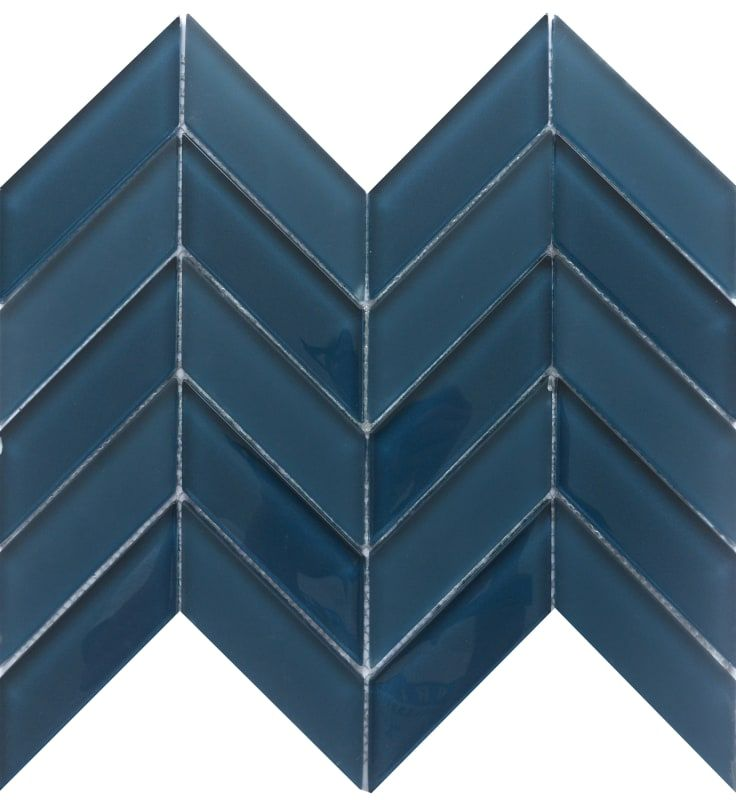 Emser Tile W80edgena1012mcv Navy Edge Chevron Mosaic Wall Tile Polished Glass Visual Emser Tile Blue Tiles Navy Blue Tile