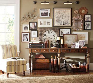 gallery wall: Wall Decor, Decor Ideas, Frames, Consoles Tables, Galleries Wall, Living Room, Benjamin Moore, Clocks, Pottery Barns
