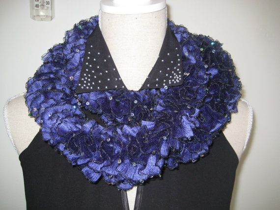 On Sales disc 50  Ruffle Scarf  Knitted Purple by MinnieCreation, €20.74