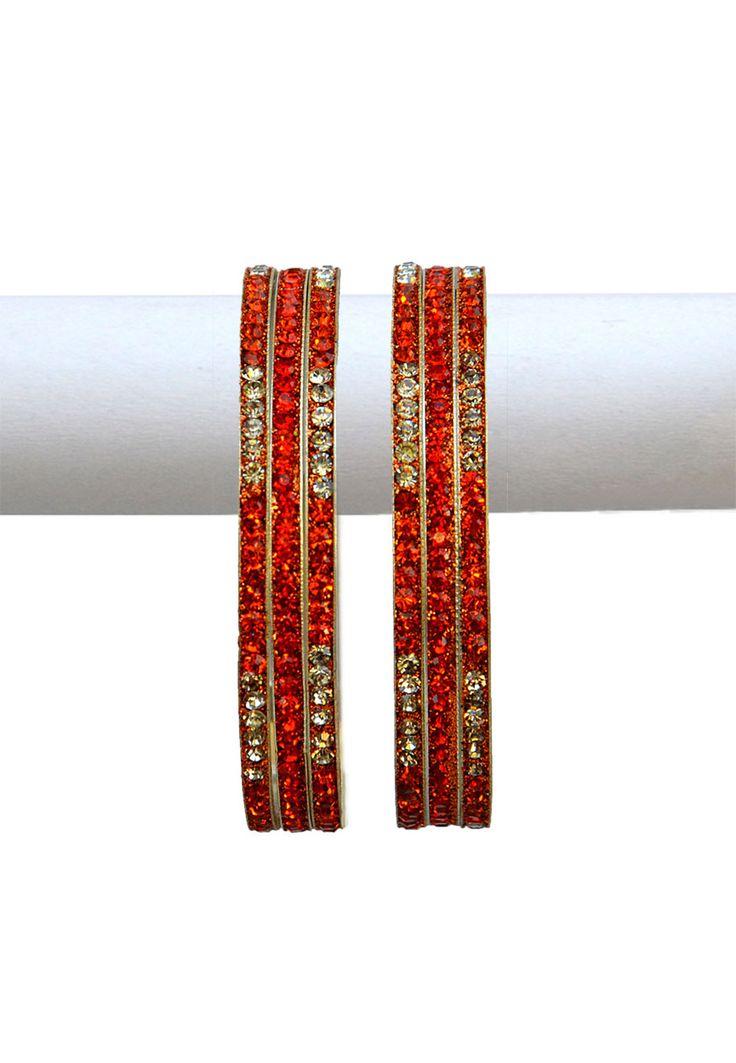 Buy Orange and White Stone Studded Bangle Set online, work: Stone, color: Orange / White, usage: Party, category: Jewelry, fabric: Others, price: $12.50, item code: JDA1155, gender: women, brand: Utsav