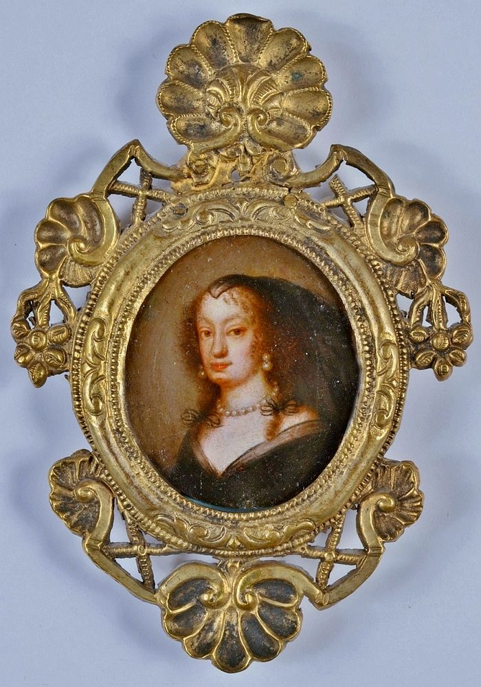 Miniature of Empress Dowager Eleonor Gonzaga (1630-1686) by Anonymous, 1660s, Private collection, the Empress attended the wedding ceremony of her daughter Eleanor Maria Josepha of Austria with Michael Korybut Wiśniowiecki on 27 February 1670 in the Jasna Góra Monastery; the King of Poland presented the Empress with a priceless crystal bowl, while the Empress had given her portrait set with precious stones to some Polish ladies