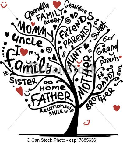 Vector - Family tree sketch for your design - stock illustration, royalty free illustrations, stock clip art icon, stock clipart icons, logo, line art, EPS picture, pictures, graphic, graphics, drawing, drawings, vector image, artwork, EPS vector art