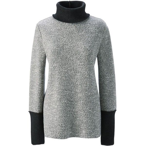Lands' End Women's Petite Slouchy Turtleneck - Starfish ($69) ❤ liked on Polyvore featuring tops, sweaters, grey, slouchy sweater, jacquard sweaters, grey turtleneck, marled sweater and turtleneck top