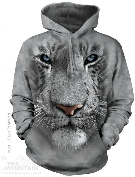The Mountain Tiger Hoodie   White Tiger Face