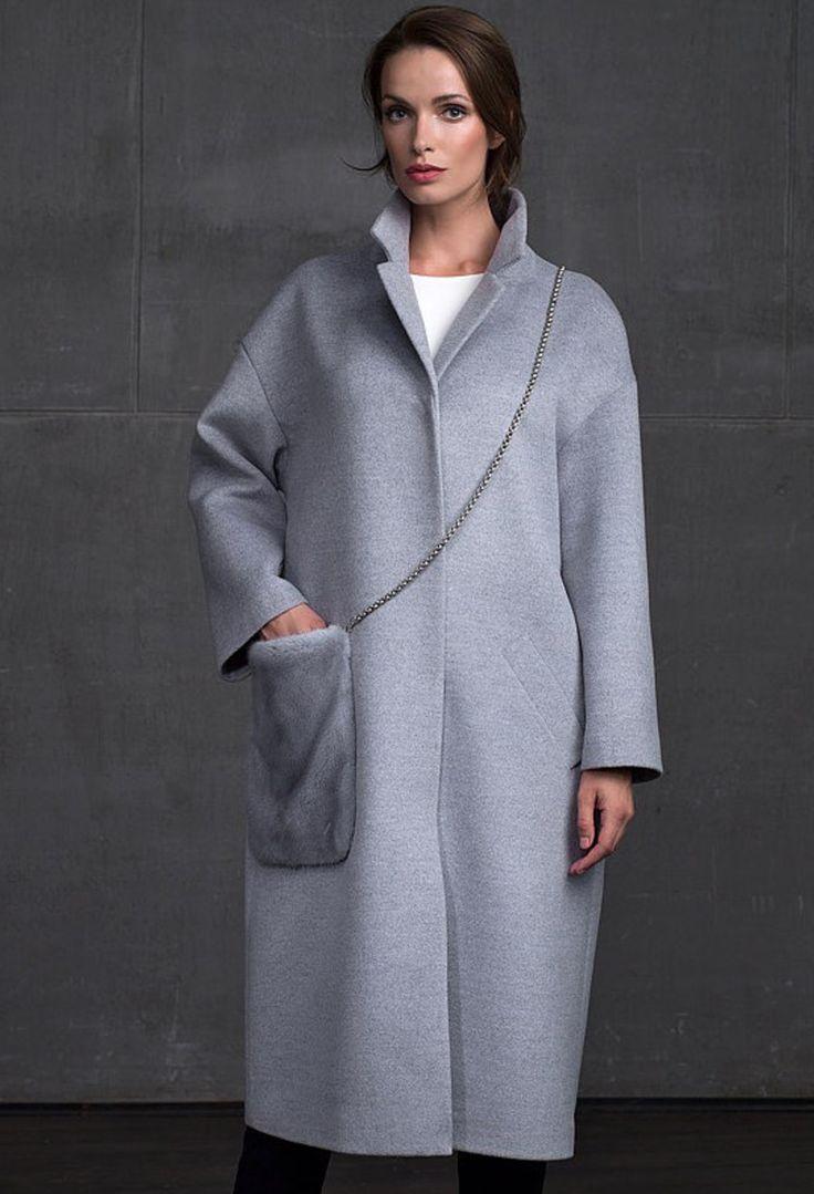 Женская коллекция. Длинное пальто с меховым карманом. Laplandia For Women