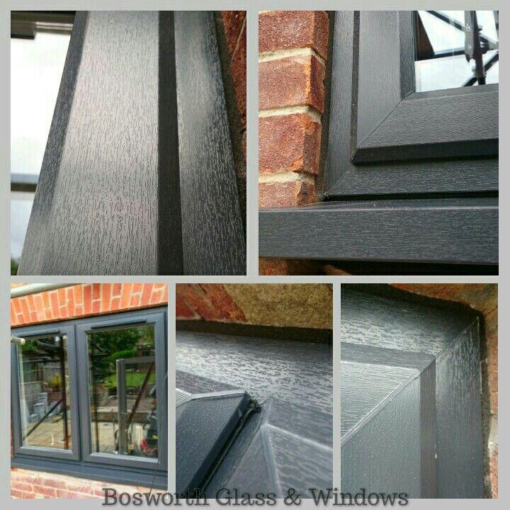 Upvc Anthracite Grey Rehau Windows with 55mm Radlington Cill installed in Weymouth Dorset by Bosworth Glass & Windows.