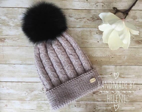 Real fur pompom hat knit winter hat large fox fur pompom