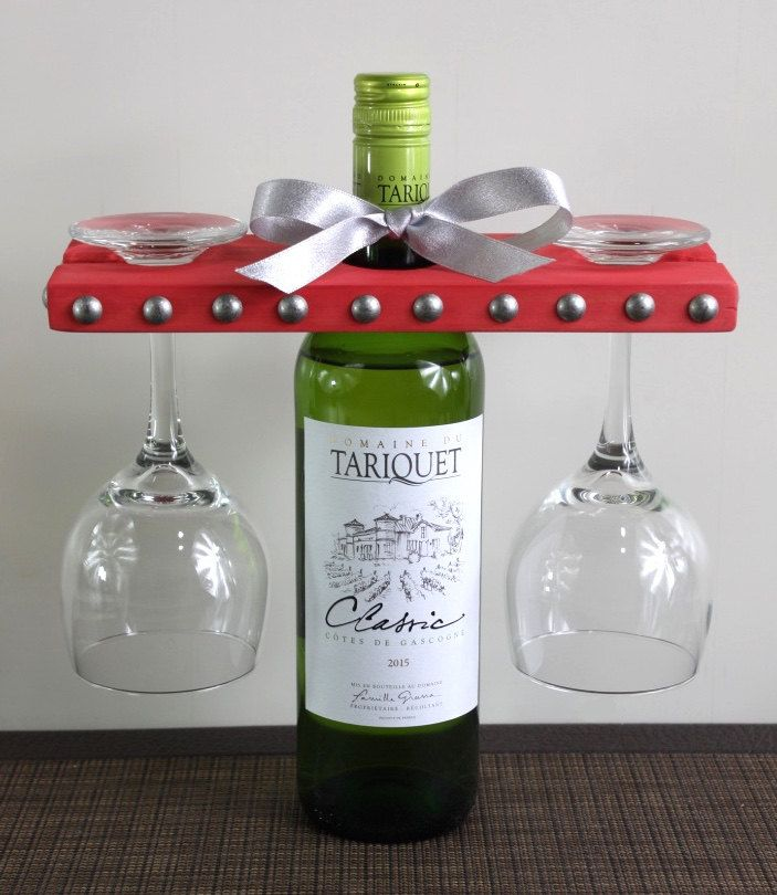 40% off! Use promo code THANKFUL40 offer expires on Monday | Wine Glass Holder Placed Over a Wine Bottle | Holds Two Wine Glasses | Long or Short Stem Wine Glass | Wine Lover | Party Gift | Beaded Nail by ArgylePines on www.etsy.com/shop/ArgylePines