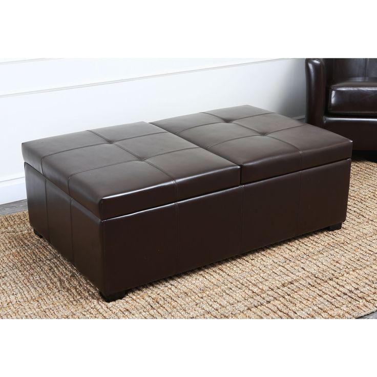 Abbyson Frankfurt Dark Brown Leather Double Flip Top Storage Ottoman By Abbyson Great Deals