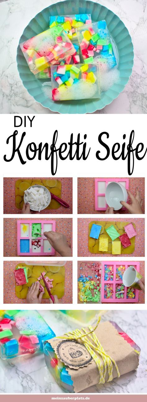 Seife selber machen ist einfach und ein tolles Geschenk. Konfetti Seife mit Kind…