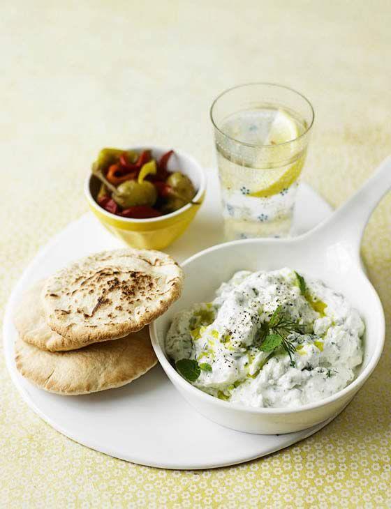 Feta Dip and pita http://www.sainsburysmagazine.co.uk/menus/anjum-anand-s-indian-barbecue/item/creamy-feta-dip