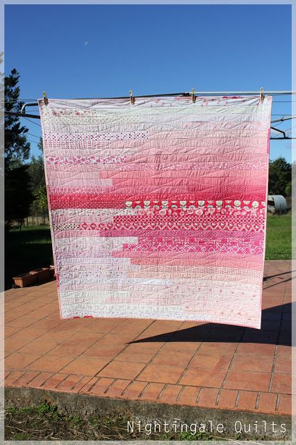 Ombre quilt - nightingale quilts.  I want something rustic like this backed with my vintage bedspread and using a thin batting...or maybe no batting.