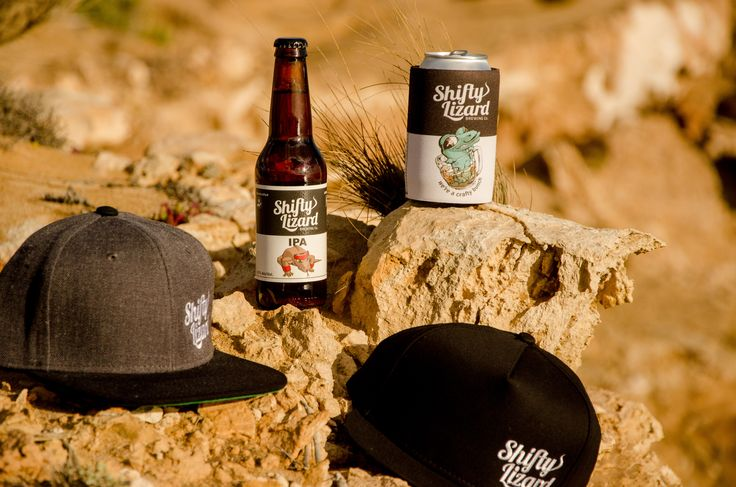 Shifty Lizard hats and stubby holder on the rocks!