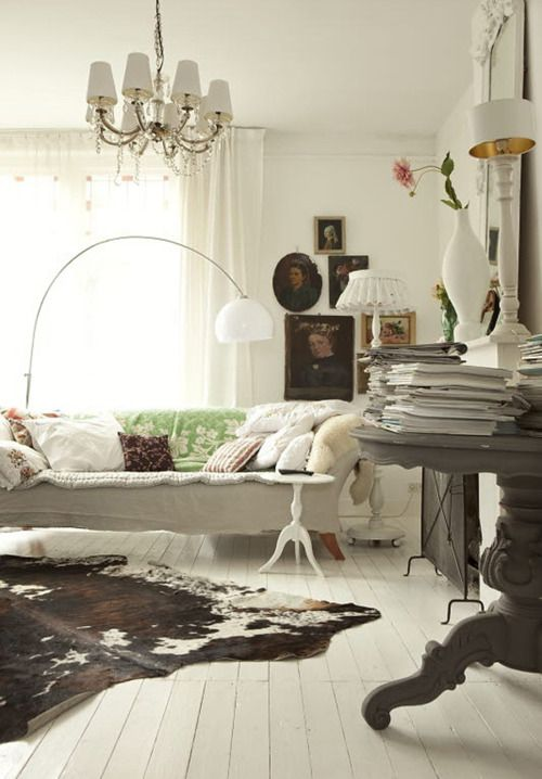 cow hide rug townhome decor pinterest cow hide cow. Black Bedroom Furniture Sets. Home Design Ideas