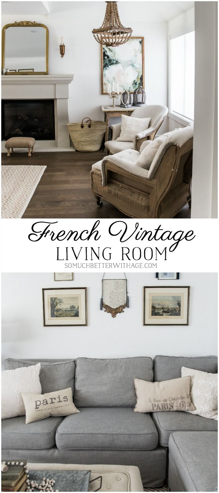 french vintage living room and foyer - before and after | home