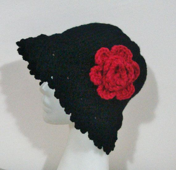 Black Womens Hat with Red Crochet Flower Cloche Hat by earflaphats