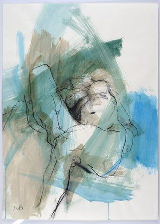 NICKY BASFORD RECLINING NUDE, GREEN & BLUE CHARCOAL & ACRYLIC  33 1/8 X 23 5/8 IN 84 X 60 CMS
