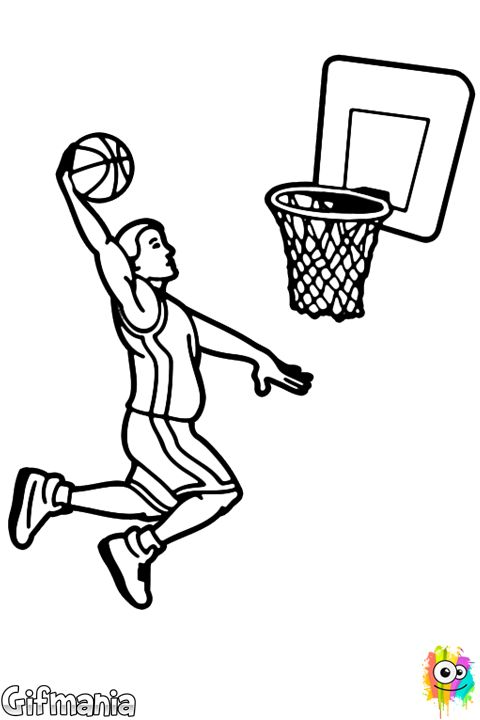 Basketball Slam Dunk Coloring Page