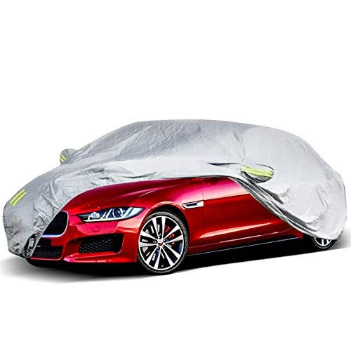 Eluto Car Cover Sedan Cover Waterproof Windproof Dustproof All Weather Scratch Resistant Outdoor Uv Protection With Adjustable Buckle Straps For Sedan Fits Up