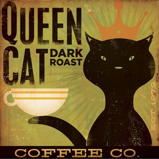 Queen Cat Dark Roast Coffee original illustration canvas graphic artwork 12 x 12 by gemini studio. $80.00, via Etsy.