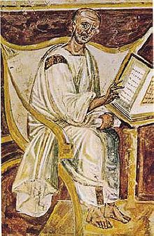 Augustine of Hippo (354-430) - The earliest known portrait of Saint Augustine in a 6th-century fresco, Lateran, Rome