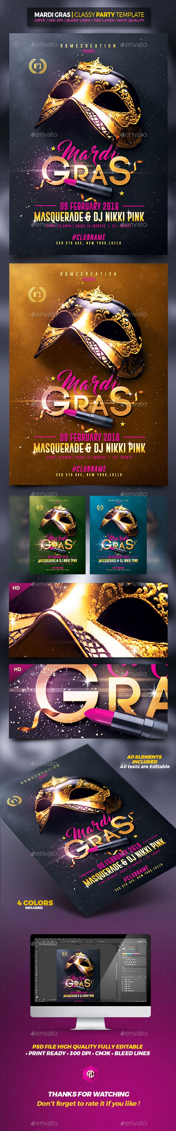 Mardi Gras | Classy Flyer Template. Print-templates Flyers Events. To help discover this anniversary party, black, brazil, carnaval, Carnival Event, carnival party, celebration, chic, classy, club, Costumes, event, fat Tuesday, festival, flyer, gold, mardi, mardi gras, mask, masks, Masquerade Ball, music, private, psd, rome creation, sexy, St Louis, st patricks, and template.