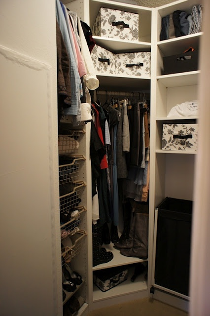 Fabulous diy walk in closet i love the mirror on hinges such a great idea organizing - Walk in wardrobes diy ...