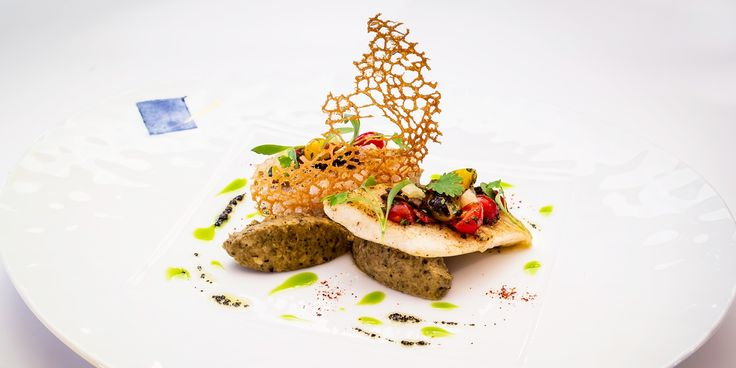 Xavier Boyer's outstanding John Dory recipe is paired with a heavenly aubergine caviar, sauce vierge and a crunchy buckwheat tuille.