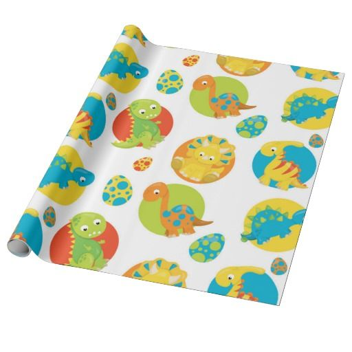Fun Prehistoric Dino pattern wrapping paper