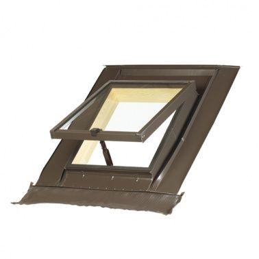 Lucera MAYDISA para tejados UNV-Universal Adaptable a cualquier tipo de cubierta. Pendiente admisible de 15º a 70º.   Apertura proyectante.  Apertura máxima 180º. Se suministran completas: con marco, hoja, cristal, juntas de estanqueidad en todo el perímetro y alrededor del cristal y tapajuntas integrado de babero de plomo de 18 cm, que se adapta a cualquier tipo de cubierta para un fácil y rápido montaje.