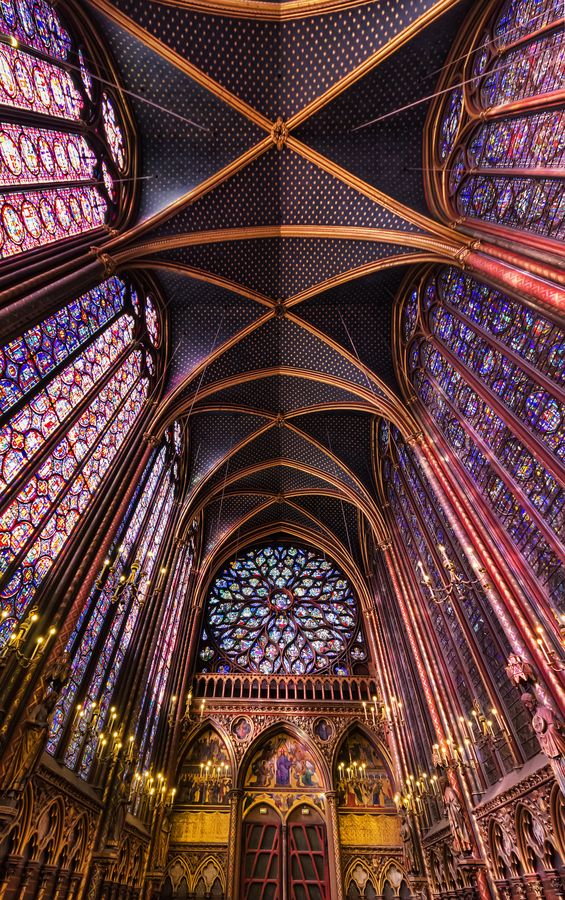 """Sainte Chapelle""(Paris)**.  Probably one d my favorite churches. You walk up to be in church and you are surrounded by the most magnificent, towering stained glass windows for the size of church"