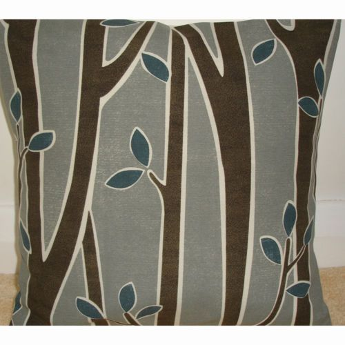 "NEW 16"" Cushion Cover ★ Tree Bark and Leaves ★ Teal Blue Grey Brown Cream 