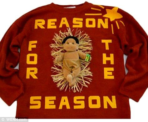 How about wearing a tacky Christmas sweater like the ones above from