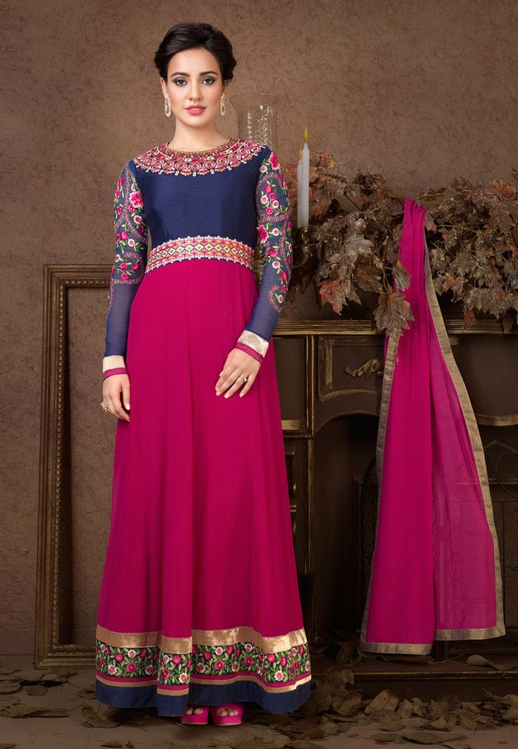 Blue and Fuchsia Faux Georgette Abaya Style Churidar Kameez: KAH83