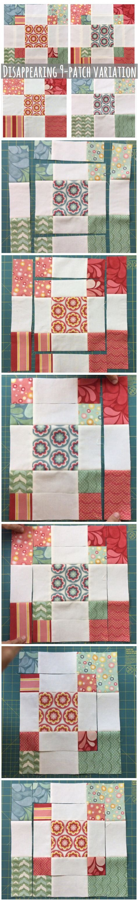 Variation on a disappearing 9-patch block and quilt tutorial                                                                                                                                                                                 More