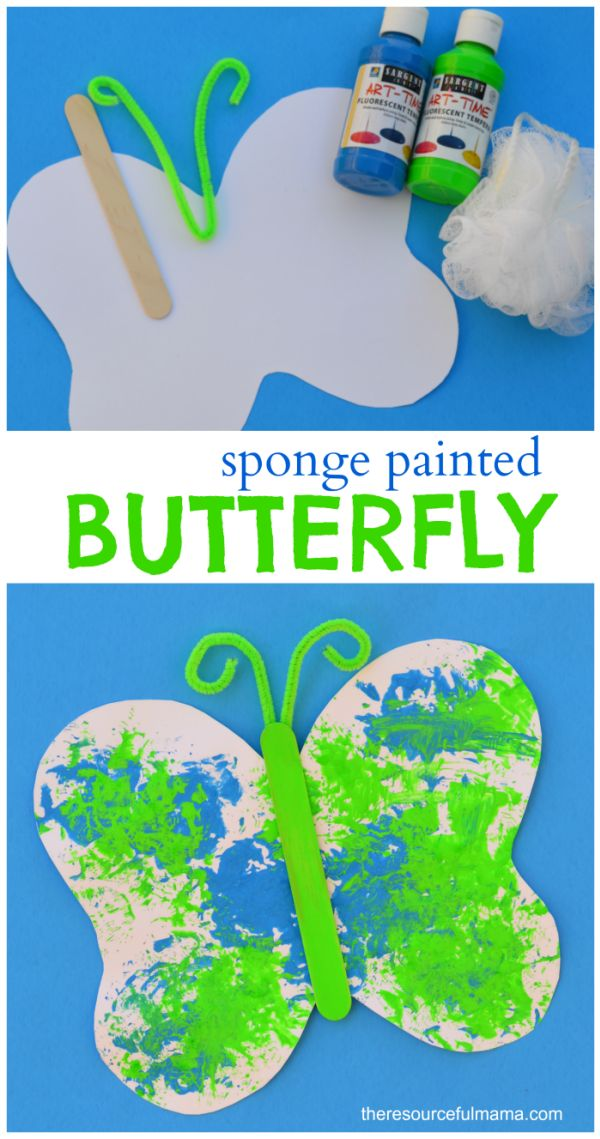 loofah sponge painted butterfly craft for kids free printable butterfly template great spring or - Kids Images Free