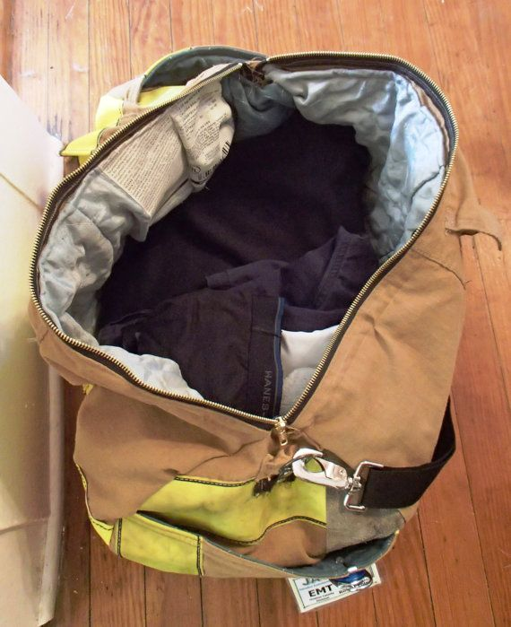 **This is a made-to-order item! Please allow ~5 days to make the bag, and a few days for shipping** Duffel bag made from retired firefighter