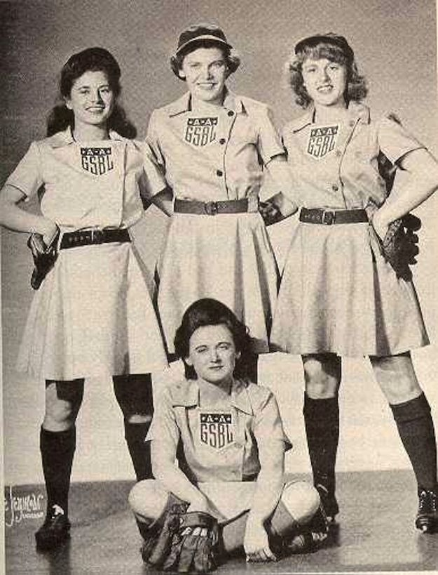 First four girls signed to The All-American Girls Professional Baseball League, from collective-history.tumblr.com