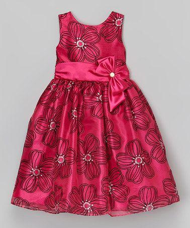 Jayne Copeland Fuchsia Floral Glitter A-Line Dress - Girls